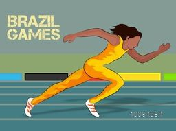 Illustration of Female Runner on race track and Stylish Text Brazil Games, Creative Poster, Banner or Flyer design for Sports concept.