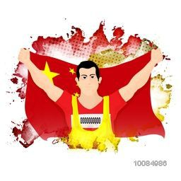 Happy player holding Flag of China on abstract background, Creative Poster, Banner or Flyer design for Sports concept.