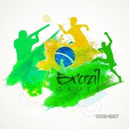 Brazilian Flag colors Sports Background with illustration of different players, Can be used as Poster, Banner or Flyer design.