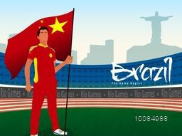 Creative illustration of a player holding China Flag on Stadium, city view background for Sports concept.