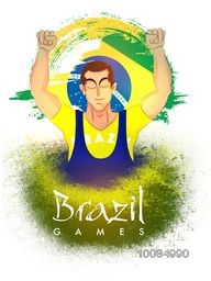 Creative illustration of a player in winning pose on Brazilian Flag colors background, Can be used as Poster, Banner or Flyer design for Sports concept.