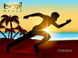 Silhouette of a man athlete running in beautiful nature view background, Creative Poster, Banner or Flyer design for Sports concept.