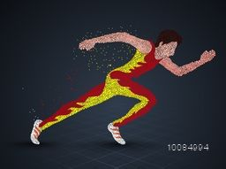 Running Man Athlete made with dots, Creative vector illustration for Sports concept.