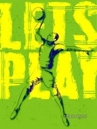 Creative illustration of a Basketball Player with Stylish Text Let's Play on green background, Can be used as Poster, Banner or Flyer design for Sports concept.