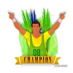 Creative illustration of a player in winning pose on abstract feathers background for Sports concept.