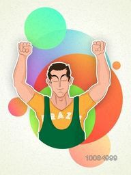 Creative illustration of a player in winning pose on colorful abstract background for Sports concept.