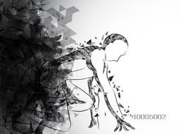 Man Athlete ready to start the race on creative abstract background for Sports concept.