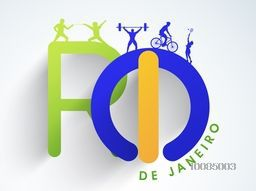 Glossy Big Text Rio De Janeiro with illustration of different sports, Can be used as Poster, Banner or Flyer design.