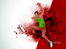 Creative illustration of Jumping Man Athlete on abstract red background, Poster, Banner or Flyer for Sports concept.