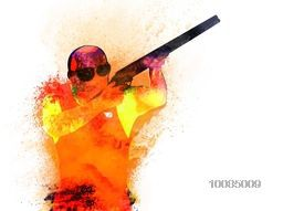 Creative illustration of a Shooting Player made by colorful splash for Sports concept.