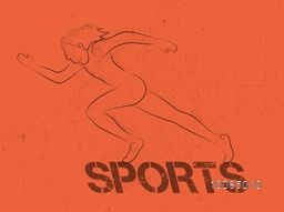 Vintage Sports background with female runner, Can be used as Poster, Banner or Flyer design.