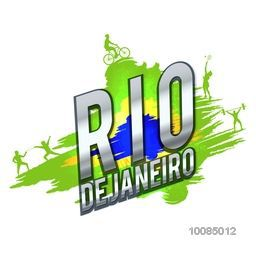 Shiny inscription Rio De Janeiro on creative Brazilian Flag colors background showing different sports, Can be used as Poster, Banner or Flyer design.