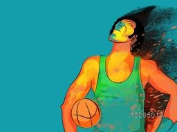 Creative illustration of Basketball Player with colorful abstract splash for Sports concept.