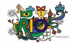 Creative Text Rio with Brazil Native and Cultural symbols in hand drawn doodle pattern for Summer Olympic Games, Can be used as Sports Poster, Banner or Flyer design.