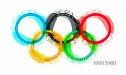 Creative Colorful Five Rings (Symbol of Unity) with watercolor brush strokes, Sports Background for Brazil Summer Games concept, Can be used as Poster, Banner or Flyer.