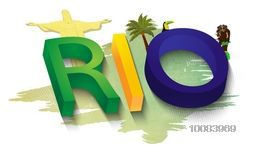 Glossy 3D Text Rio in Brazilian Flag colors with different cultural symbols, Creative Brazil Summer Games Poster, Banner or Flyer design, Vector illustration for Olympics.