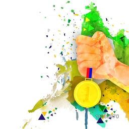 Man Hand holding Gold Medal on abstract background, Vector illustration for Brazil Summer Games or Olympics, Can be used as Poster, Banner or Flyer design.