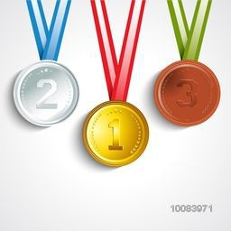 Glossy Gold, Silver and Bronze Medals with Ribbon showing First, Second and Third Place in Sport Competition, Concept for Brazil Summer Olympic Games.