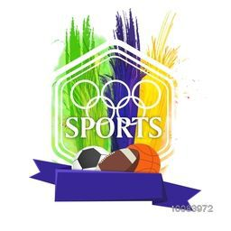 Creative Sports background with Blank Ribbon, Different Sports Balls and Brazilian Flag color feathers, Poster, Banner or Flyer for Brazil Summer Olympics.
