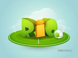 Glossy 3D Text Rio with Soccer Ball in stadium, Brazil Summer Olympic Games concept, Can be used as Poster, Banner or Flyer design.