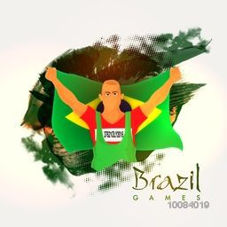 Illustration of a player holding Brazilian Flag on abstract background for Sports concept.