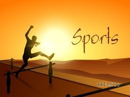 Silhouette of a man jumping hurdle on shiny background for Sports concept.