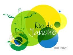 Stylish Text Rio De Janeiro on Brazilian Flag colors abstract background, Can be used as Poster, Banner or Flyer design for Sports concept.