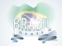 Stylish Text Brazil Games with shiny ribbon on waving Brazilian Flag background, Can be used as Poster, Banner or Flyer design for Sports concept.