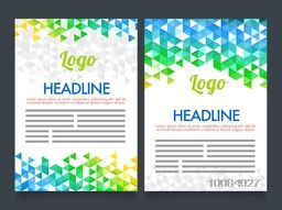 Creative Two Page Brochure, Template or Flyer presentation with Brazilian Flag colors abstract design.