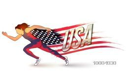 Illustration of female relay runner with creative American Flag on white background for Sports concept.