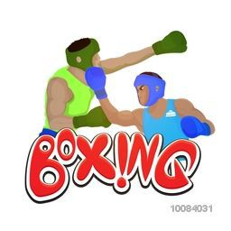 Creative illustration of a boxing players fighting on white background for Sports concept.