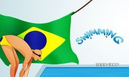 Illustration of a Swimmer ready for swimming with Glossy Brazilian Flag for Sports concept.