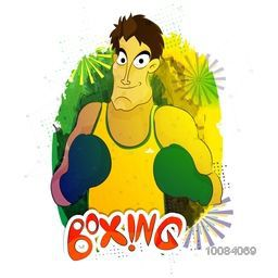 Illustration of a boxing player ready to fight on abstract background for Sports concept.