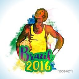 Creative illustration of Basketball Player on abstract colorful background for Brazil 2016, Games concept.