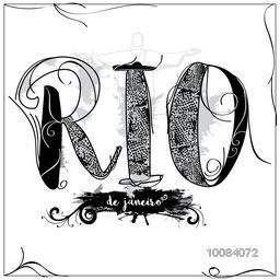 Creative hand drawn text Rio de Janeiro on splash background, Can be used as Poster, Banner or Flyer design.