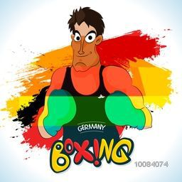 Illustration of a boxing player ready to fight on German Flag colors abstract background for Sports concept.