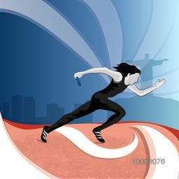 Illustration of female relay runner on abstract cityscape background for Sports concept.