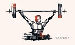 Illustration of a Weight Lifter man lifting heavy weight for Sports concept.