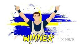 Illustration of a player in winning pose on Sweden Flag colors background for Sports concept.