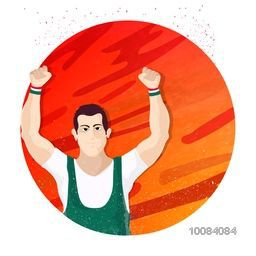 Illustration of a player in winning pose on abstract background for Sports concept.