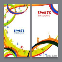 Creative website banner set with colorful abstract pattern for Sports concept.