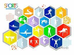 Creative Colorful Sports background with illustration of different games, Can be used as Poster, Banner or Flyer design.