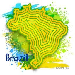 Creative Brazil Map design on abstract splash background.