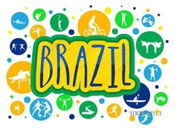 Stylish Text Brazil with illustration of different games in colorful circles, Can be used as Poster, Banner or Flyer design for Sports concept.