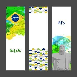 Creative Website Banner set decorated with Brazilian Flag colors abstract design and illustration of Christ de Redeemer for Sports concept.