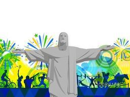 Creative sports background with illustration of Christ the Redeemer statue, different sports players in action and beautiful abstract pattern.
