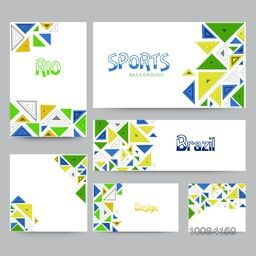 Social Media Post, Header or Banner set with abstract design for Sports concept.
