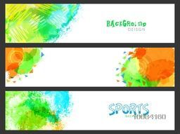 Creative Website Header or Banner set decorated with abstract design for Sports concept.