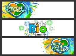 Creative Website Header or Banner set decorated with Brazilian Flag colors abstract design for Sports concept.