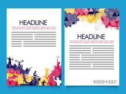 Creative Two Page Brochure, Template or Flyer presentation with colorful abstract design and illustration of different sports.